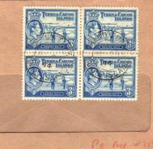 TURKS & CAICOS KGVI Cover 3d Block {4} 1944 {samwells-covers} PB287