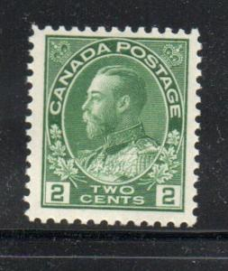Canada Sc 107 1922 2c yellow green G V Admiral issue stamp mint NH