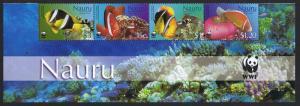 Nauru WWF Anemonefish Strip of 4v with WWF Logo SG#566-569 MI#553-556 SC#514-517