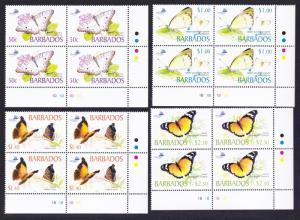 Barbados Butterflies 4v Bottom Right Corner Blocks of 4 SG#1261-1264