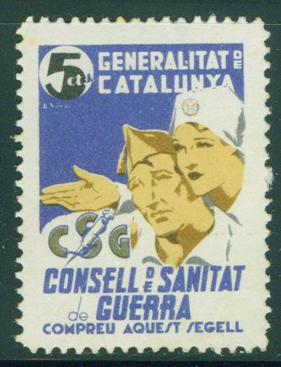 SPAIN Civil War Republic Label GG2136 Catalan Stamp