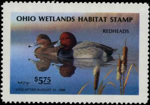 OHIO #04 1985 STATE DUCK STAMP REDHEADS by Ronald Louque