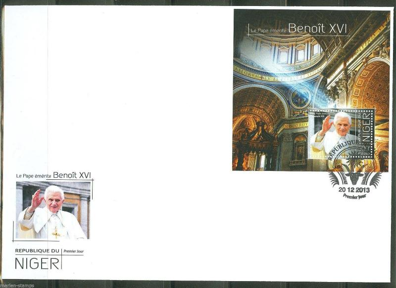 NIGER  2013  POPE BENEDICT XVI  SOUVENIR SHEET FIRST DAY COVER