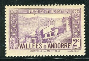 FRENCH ANDORRA; 1932 early Pictorial issue fine Mint hinged 2c. value