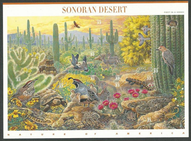 1999 United States Scott Catalog Number 3293 Sonoran Desert Souvenir Sheet MNH