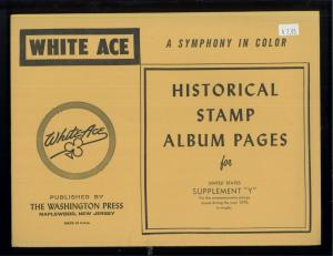1970 White Ace United States Commemorative Singles Stamp Album Supplements Y