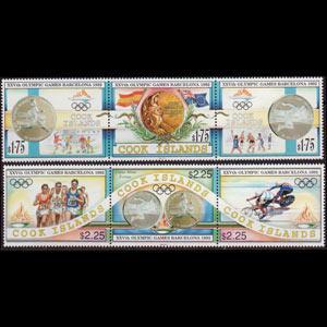 COOK IS. 1992 - Scott# 1108-9 Olympics Set of 6 NH