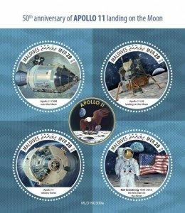 Z08 MLD190309a MALDIVES 2019 Apollo 11 Moon Landing MNH ** Postfrisch