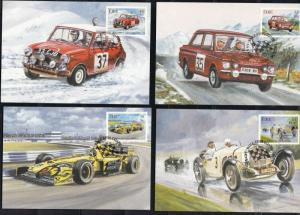 Ireland Eire Car Motor Racing Maxi Stamps Cards - Set of Four Ref 28556