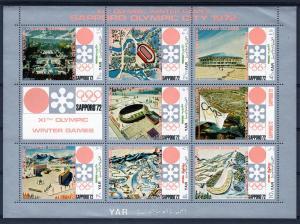 Yemen Arab Republic 1970 Sapporo Olympics Host City Sheet Perforated mnh.vf