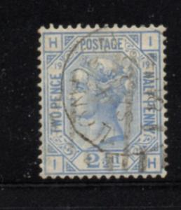 Great Britain Sc 68 plate 19 1880 2 1/2d ultra Victoria stamp used