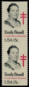 #1823a EMILY BISSELL 15¢ VERTICAL PAIR, IMPERF PAIR MAJOR ERROR BQ5212