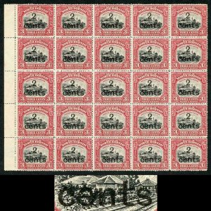 NORTH BORNEO SG186/a 1916 2cents on 3c black Block of 25 inc S inverted
