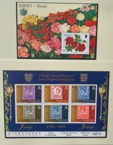 JE98) Jersey 2010 Roses M/S + Jersey Postal History Part V Sheetlet MUH