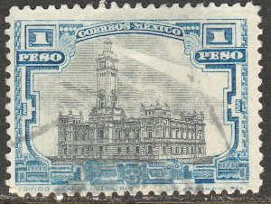 MEXICO 627, $1Peso VERACRUZ LIGHTHOUSE. USED. F-VF. (374)