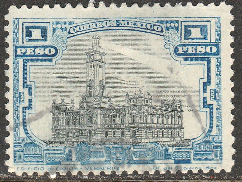 MEXICO 627, $1Peso VERACRUZ LIGHTHOUSE. USED. F-VF. (374)