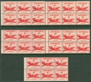 EDW1949SELL : USA 1947 Sc #C39a. 5 Booklet panes. Wet printing. F-VF MNH Cat $60