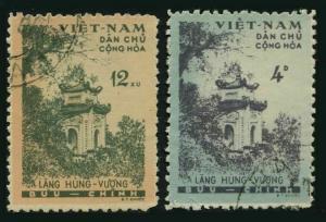 Viet Nam 119-120,CTO.Michel 123-124. Hung Vuong Temple.1960.