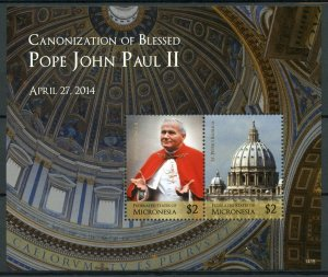 Micronesia Stamps 2014 MNH Canonization Blessed Pope John Paul II 2v S/S I