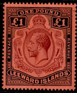 LEEWARD ISLANDS GV SG80, £1 purple & black/red, LH MINT. Cat £225.