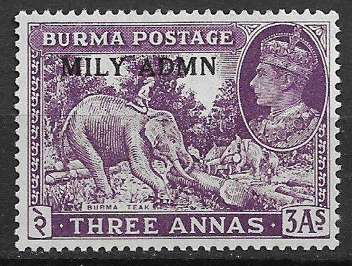 1945 Burma 43 MILY ADMN overprint 3P MH