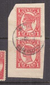 QUEENSLAND, WONDAI cds, c1905 1d. pair on piece.