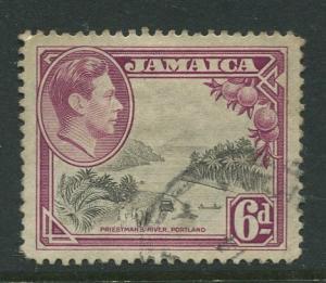 Jamaica -Scott 123 - King George VI -1938 - Used - Single 6p Stamp