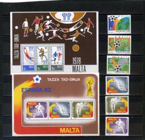MALTA SMALL COLLECTION SOCCER SET OF 6 STAMPS & 2 S/S MNH