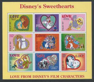 Palau #393 NH Disney Sweethearts - Sheetlet of 9