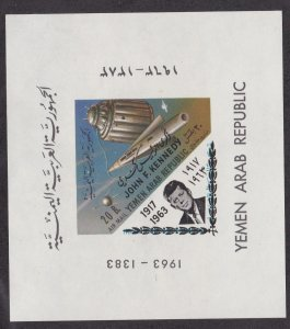 Yemen # C291 (footnote) John F. Kennedy, Space, Imperf sheet, NH, 1/2 Cat.
