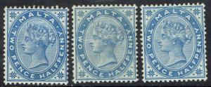 MALTA 1885 QV 21/2D ALL 3 SHADES