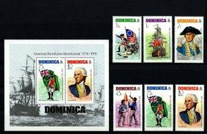 DOMINICA - 1976  - US BICENTENNIAL - WASHINGTON - FLAGS - MINT - MNH SET + S/S!