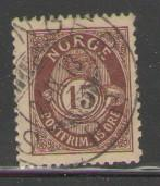Norway Sc 52 1908 15 o post horn stamp used