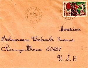 Ivory Coast 30F Cabbage Tree 1968 Seguela, Cote d'Ivoire to Chicago, Ill.  EU...