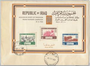62950 - IRAQ -  Scott # 335a MINIATURE SHEET  on FDC COVER 1963 - AGRICOLTURE