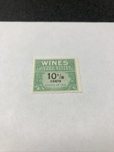 US # 184A WINES United States Internal Revenue stamp 10 1/2 cent 1941 - VF - MNH