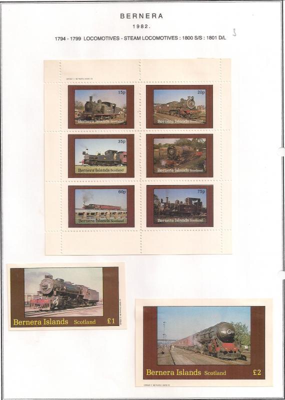 SCOTLAND - BERNERA - 1982 - Locomotives (9) - 6v Perf, Min, D/L Sheets - MLH