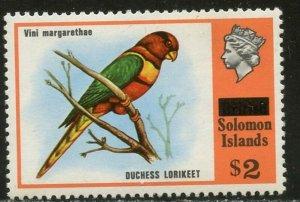 SOLOMON IS. Sc#310 1975 $2 Lorikeet Bird Overprinted OG Mint NH