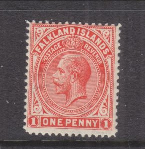 FALKLAND ISLANDS, 1925 KGV, Script CA, 1d. Orange Vermilion, mnh.