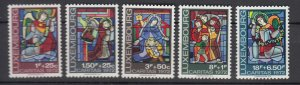 J25859  jlstamps 1972 luxembourg set mnh #b287-91 stained glass