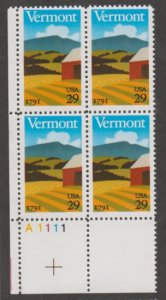 U.S. Scott #2533 Vermont 1791 Statehood Stamps - Mint NH Plate Block