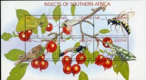 LESOTHO 1324 MNH S/S SCV $12.00 BIN $7.00 INSECTS