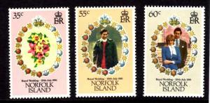 Norfolk Island #280-282, MNH, 1981 Royal Wedding Omnibus set of 3, CV $1.35