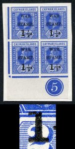 Cayman Is SG54 1.5d on 2.5d Type 15 Plate Block Variety STRAIGHT SERIF