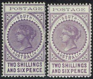 SOUTH AUSTRALIA 1902 QV THIN POSTAGE 2/6 BOTH SHADES