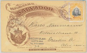 51081 -  EL SALVADOR -  POSTAL HISTORY - POSTAL STATIONERY CARD to GERMANY  1903