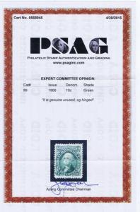 SCOTT# 89 10c UNUSED, OG, H WITH PSAG CERT RARE, HIGH CAT VAL 1868