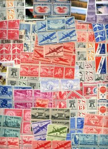 Lot of 308 U.S. MNH Never Hinged Airmail Stamps in Blocks & Pairs #140036 X R