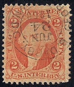#R15C 2 cents U.S. Internal Revenue 1868 Stamp used VF