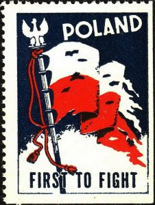 Stamp Label Poland WW2 Poster Cinderella Red Cross Czerwony Victory Flag MNH